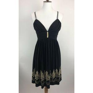 Cache Dress Black Formal Plunging Neckline A53-07P